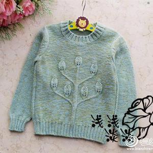 手工编织儿童毛衣之棒针混色中童羊绒套头衫