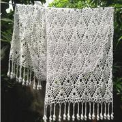 手工编织围巾款式之女士钩针经典菠萝流苏围巾