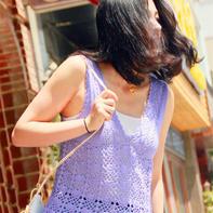 夏季手工编织作品之女士初夏钩织结合蕾丝背心