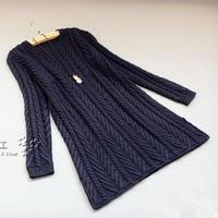 手工女士毛衣款式之棒针斜纹长袖连衣裙