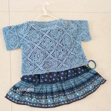 母女都可穿的夏季钩针拼花式宽松罩衣