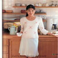 女士钩针淑女风格拼色圆领七分袖套衫