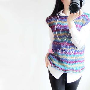 时尚手编女士毛衣之段染羊毛女士钩针菠萝罩衫