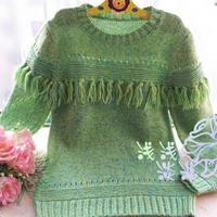 儿童毛衣编织款式之女童棒针流苏套头毛衣