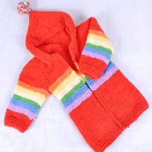 儿童棒针连帽开衫长毛衣款式彩虹大衣织法视频教程(3-3)