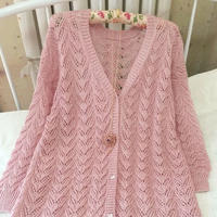 长款女士毛衣编织款式之棒针珍珠麻V领开衫