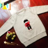 儿童手编毛衣款式之云棉2麦芽米棒针士兵图案套头毛衣
