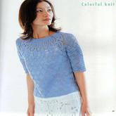 少女钩针天蓝色圆肩短袖衫