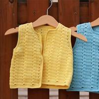 新生儿手编毛衣款式之一天即可完成的云棉2钩针宝宝开襟马甲