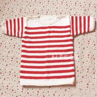 儿童毛衣编织教程之红白条纹棒外针七分袖肩开扣套头毛衣