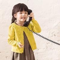 儿童手编毛衣款式之云棉2仿淘宝款女童棒针盘花圆领开衫