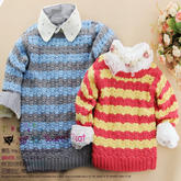 男女宝宝都适合的儿童毛衣款式之钩针条纹长袖套头衫编织视频(3-1)