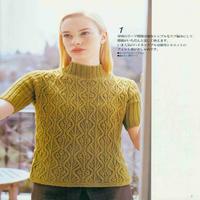 女士棒针芥黄色半高领短袖套衫