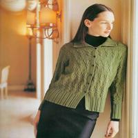 女士棒针果绿色披领长袖开衫