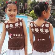 儿童编织服饰之钩织结合女童背心 快乐编织机lk150作品