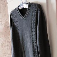 手编男士毛衣款式之棒针精致男式V领套头羊绒衫