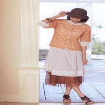 女士钩针浅橙色微蝙蝠袖开衫