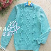 儿童手编毛衣款式之轻盈水蓝色棒针蝴蝶结套头毛衣