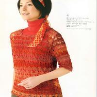 艳丽的红色系段染钩针七分袖套衫