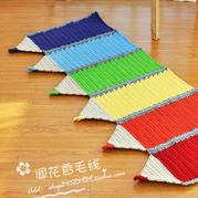 儿童房毛线装饰物之布条线钩编彩虹铅笔地毯
