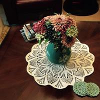 美丽蕾丝装饰垫之棉麻钩针菠萝花样小台布