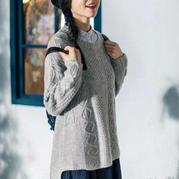 女士手编春日毛衣款式之仿茵曼圆领前短后长套头衫