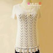 春夏女士毛衣编织款式之烟雨丝钩织结合短袖圆领套衫