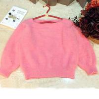 快乐编织机LK150机织简洁时尚桃红色女士貂绒套头毛衣
