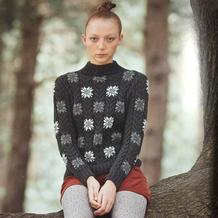 手工编织毛衣款式之志田款女士棒针灰色夹花套衫