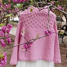 女士春款手编毛衣款式之经典从下往上织棒针圆领套头毛衣