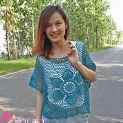 女士夏季钩衣之仿泰文女士菠萝花蕾丝网格罩衫