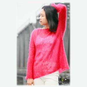 手编女士毛衣款式之轻薄飘逸简约棒针马海毛春夏套头衫