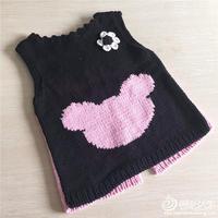 手工编织宝宝毛衣款式之棒针米奇图案两穿背心