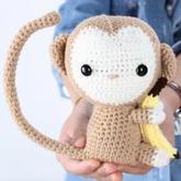 猴年猴宝宝玩偶钩法视频教你钩抱香蕉的猴子(2-1)