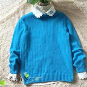 女士手编毛衣款式之棒针中老年中高领套头衫