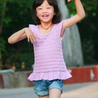 儿童春夏手工编织服饰之甜美钩织结合小飞袖套衫
