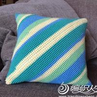 零线编织之简单有趣的斜纹抱枕套制作方法