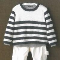 手工编织儿童棒针V领条纹小毛衣编织视频教程