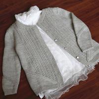 快乐编织机LK150作品之文艺范浅灰色春季女士开衫