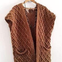 手编毛衣款式之女士别致棒针长款大口袋披肩式开衫外套