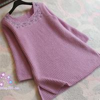 女士春秋毛衣款式之经典羊毛棒针方领开岔套头毛衣