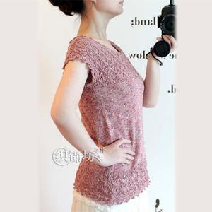 女士手编毛衣款式之棒针亮片丝麻夏季短袖套衫