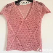 女士夏季钩衣之简单大方菱形钩针V领短袖罩衫