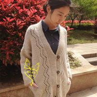 女士手编毛衣款式之棒针羊驼休闲外套开衫