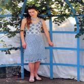 少女钩针蓝白配色淑女连衣裙长裙