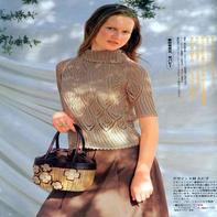 女士驼色菱形镂空花插肩短袖套衫