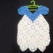 儿童夏季钩衣之女童菱形拼花连衣裙