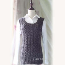手工编织毛衣款式之时尚流行款棒针阿兰花样休闲背心