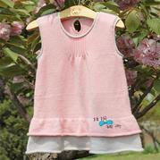 儿童手工编织毛衣款式之萌芽棒针1-2岁宝宝拼色背心裙