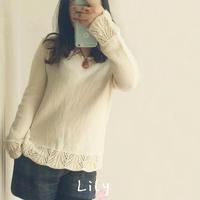 女士手工编织毛衣款式之百搭款棒针牦牛绒花边套衫